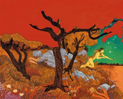 Couverture Affiche Fabrizio Dori Dieu Vagabond orange 40x50 cm