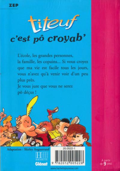 Couverture Titeuf (Bibliothèque Rose) tome 2 - C'est pô croyab'... (éd. 2001)