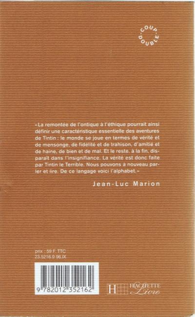 Dos Hergé - Tintin le terrible ou l'alphabet des richesses (éd. 1996)