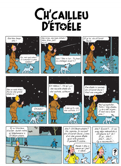 Page 1 tintin - l'étoile mystérieuse en picard - ch'cailleu d'étoéle