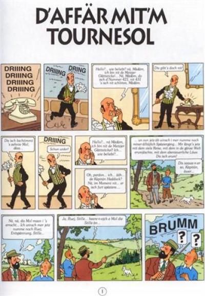 Page 1 les aventures de Tintin tome 18 - d'affar mit'm tournesol