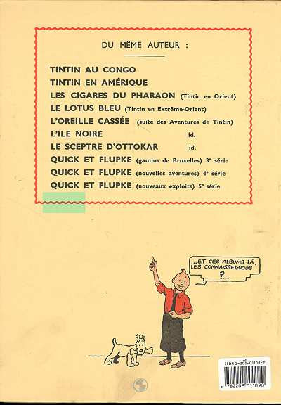 Dos Tintin tome 9 - le crabe aux pinces d'or (fac-similé N&B 1941)