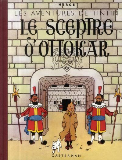 Couverture Tintin tome 8 - le sceptre d'ottokar (fac-similé N&B 1942)