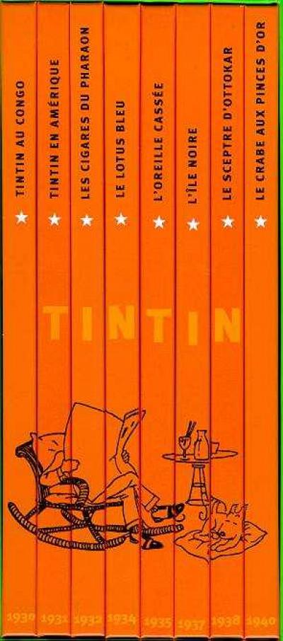 Page g Tintin - coffret fac similes en noir et blanc tome 1 a tome 8