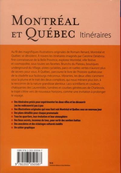 Dos Montréal et Québec itinéraires