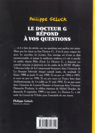 Dos docteur g tome 1 - le docteur g repond à vos questions