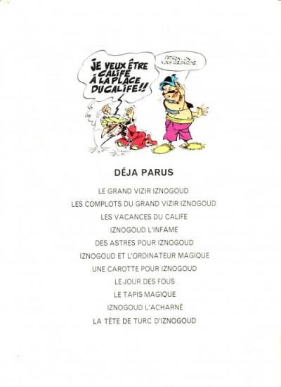 Dos Iznogoud tome 11 - La tête de Turc d'Iznogoud (éd. 1975)