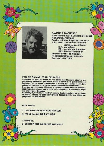 Dos Chlorophylle (Série verte) tome 2 - Pas de salami pour Célimène (éd. 1978)