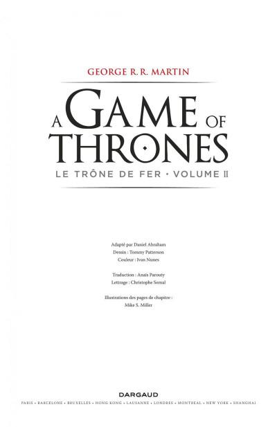 Page 3 Game of Thrones - le trône de fer T.2