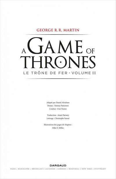 Page 3 Game of Thrones - le trône de fer tome 3