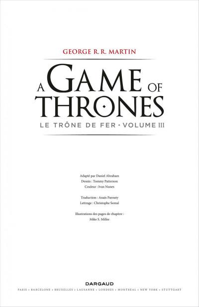 Page 3 Game of Thrones - le trône de fer T.3