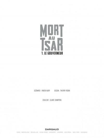 Page 1 Mort au tsar tome 1