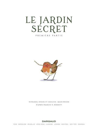 Page 1 Le jardin secret tome 1