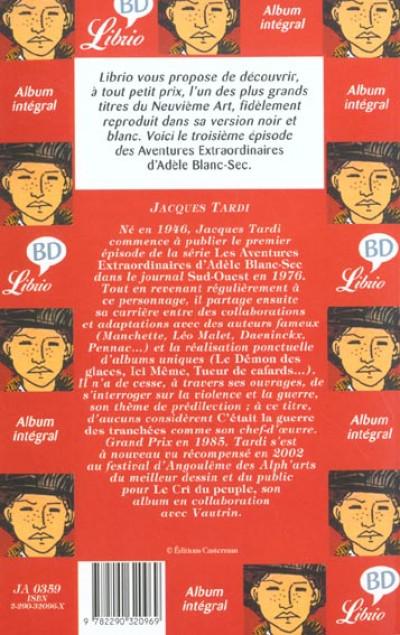 Dos Adèle Blanc-Sec - poche tome 3 - le savant fou