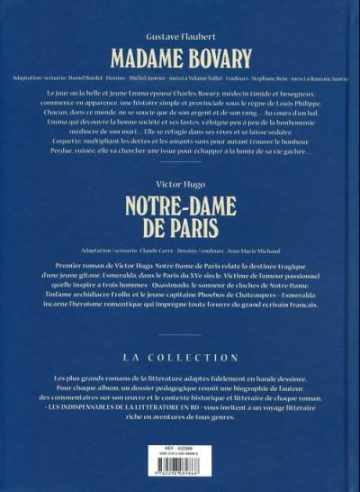 Dos Les indispensables de la Littérature en BD - Madame Bovary / Notre-Dame de Paris