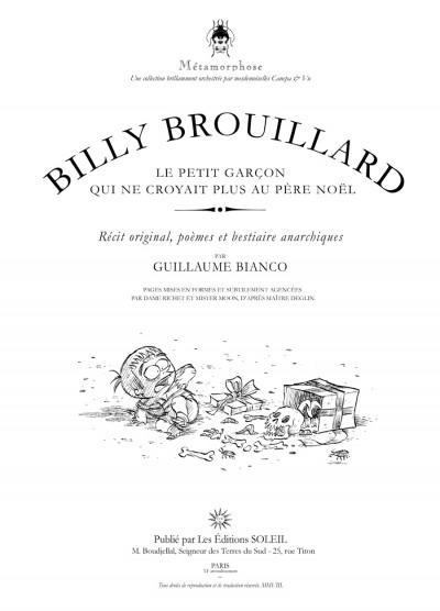 Page 1 Billy Brouillard tome 2 - le petit garçon qui ne croyait plus au Père Noël