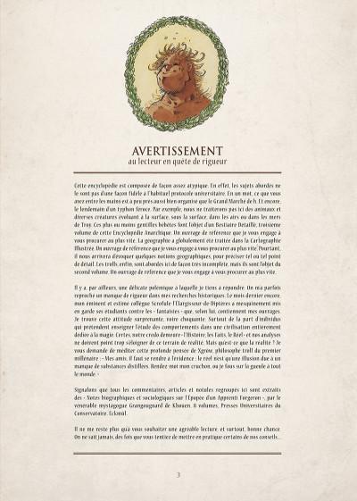Page 4 encyclopédie anarchique du monde de Troy T.1 - données essentielles
