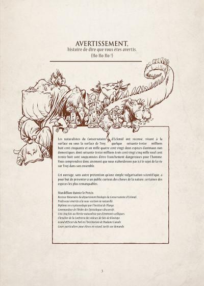 Page 4 encyclopédie anarchique du monde de Troy T.3 - le bestiaire