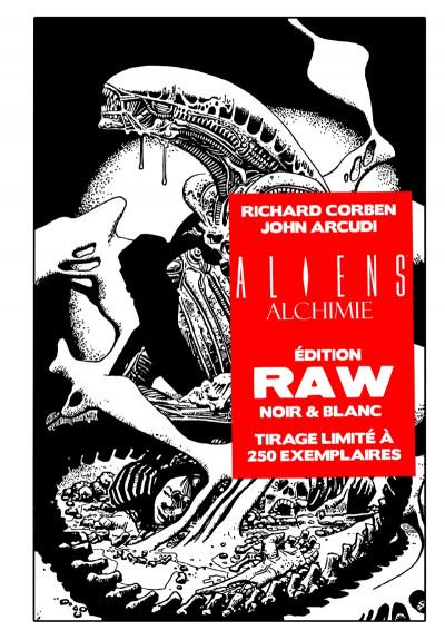 Couverture Aliens alchimie - édition RAW (noir & blanc)
