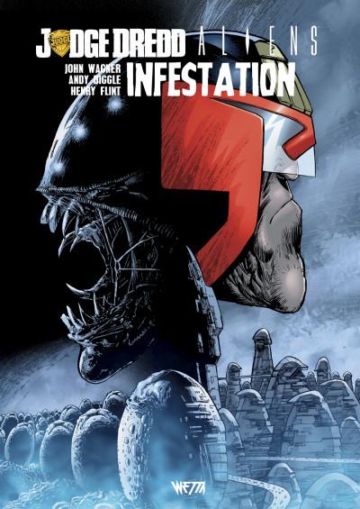 Couverture Judge Dredd/Aliens - infestation (édition hardcore)