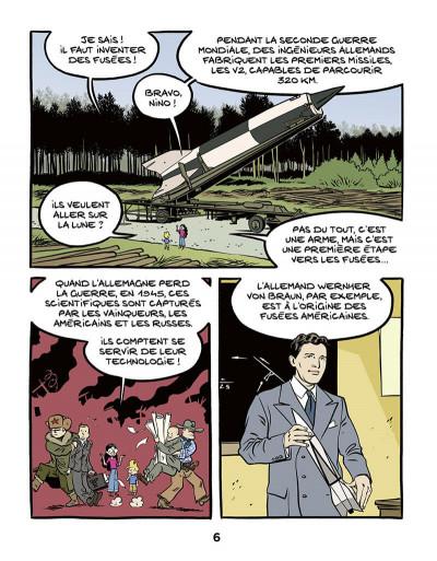 Page 6 Ariane & Nino tome 20 - Le premier pas sur la lune, mission Apollo