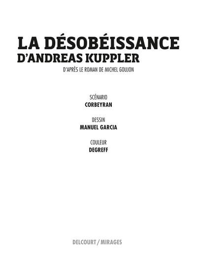 Page 1 La désobéissance d'Andreas Kuppler