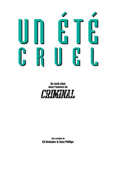 Page 1 Criminal - hors série - Un été cruel