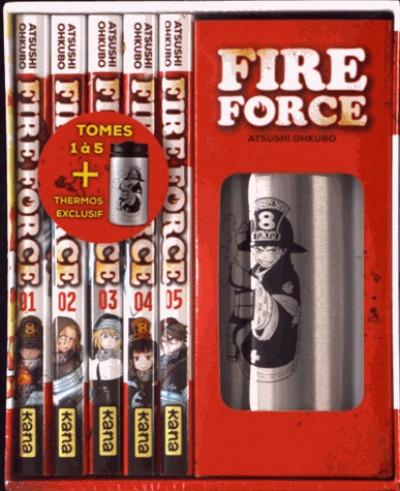 Couverture Fire force - coffret tomes 1 à 5 + thermos