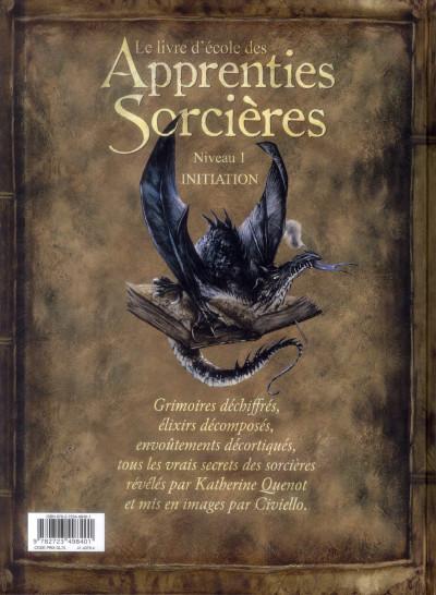 Dos le livre d'école des apprenties sorcières