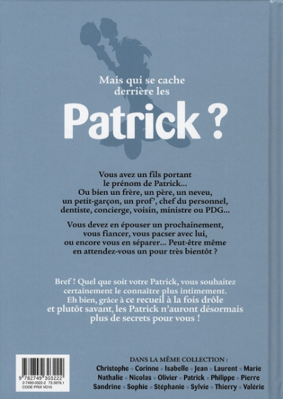 Dos l'encyclopédie des prénoms en bd tome 17 - patrick