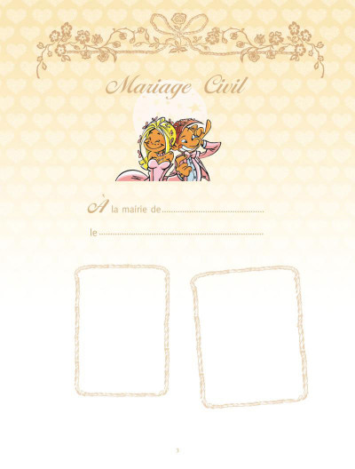 Page 1 les mariés ; coffret album + livre d'or