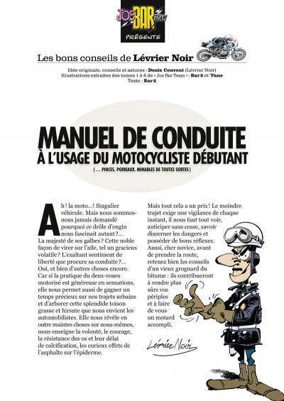 Page 1 joe bar team ; manuel de conduite à l'usage du motocycliste débutant
