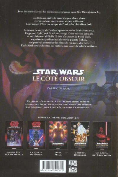 Dos star wars - le cote obscur tome 2 - dark maul