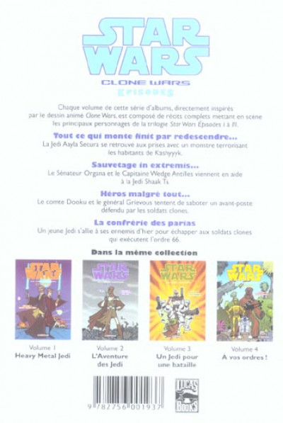 Dos star wars - clone wars episodes tome 5 - jedi en danger!