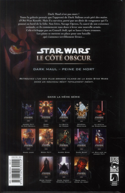 Dos Star Wars - le côté obscur tome 13 - Dark Maul, peine de mort