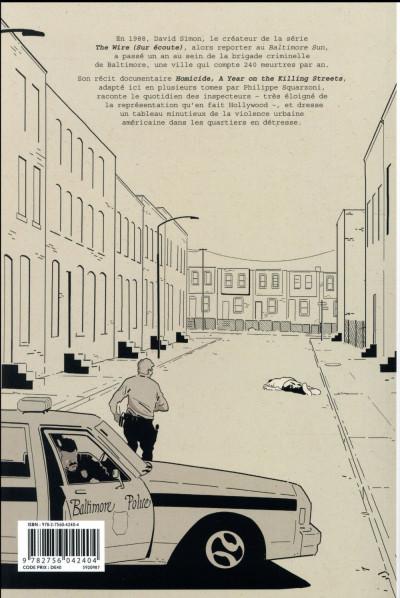 Dos Homicide - Une année dans les rues de Baltimore tome 2