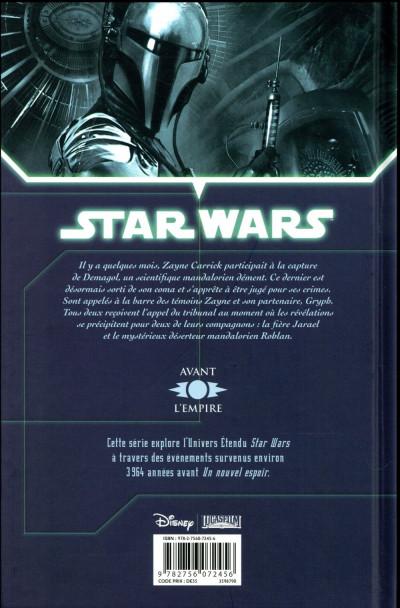 Dos Star Wars - Chevaliers de l'ancienne république tome 8 (édition 2017)