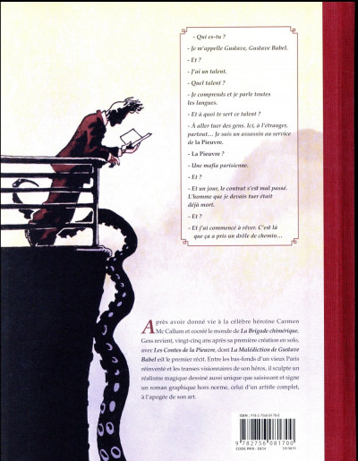 Dos La malédiction de Gustave Babel
