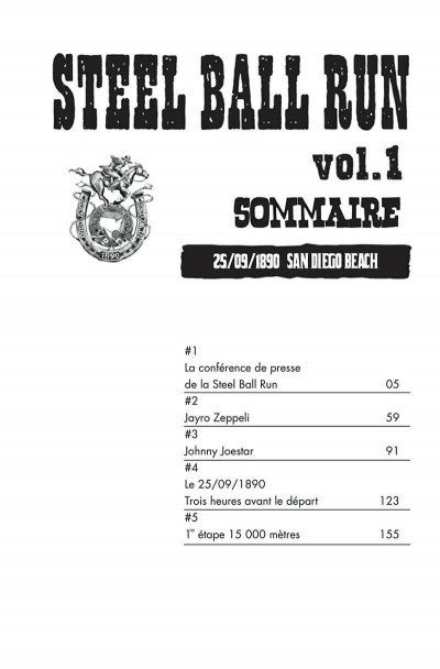 Page 1 Jojo's bizarre adventure - steel ball run tome 1