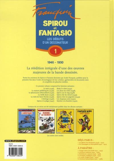 Dos spirou et fantasio - intégrale tome 1 - les débuts d'un dessinateur