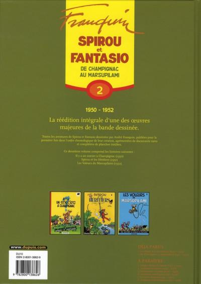 Dos spirou et fantasio - intégrale tome 2 - de champignac au marsupilami
