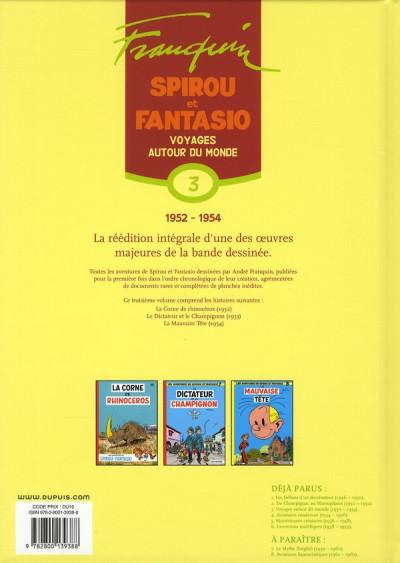 Dos spirou et fantasio - intégrale tome 3 - voyages autour du monde