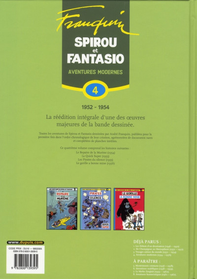 Dos spirou et fantasio - intégrale tome 4 - aventures modernes (1954-1956)