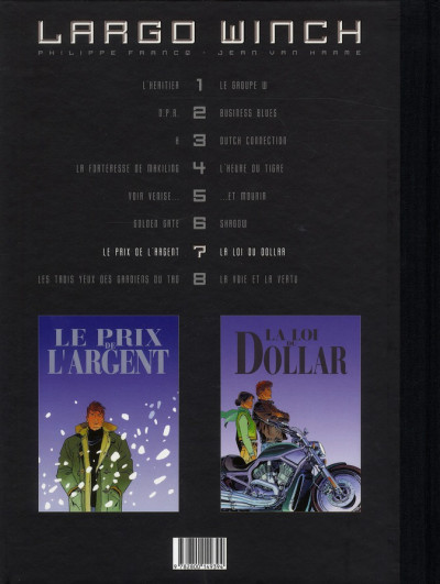Dos Largo Winch - diptyque tome 7 édition Le Soir