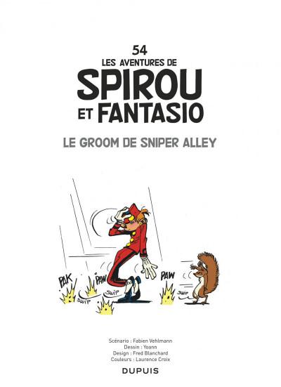 Page 1 Spirou et Fantasio tome 54 - Le Groom De Sniper Alley
