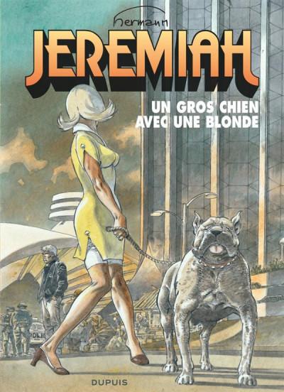 Couverture jeremiah tome 33 - un gros chien avec une blonde