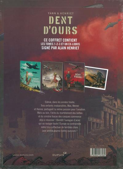 Dos Dent d'ours coffret tomes 1 à 3 + ex-libris