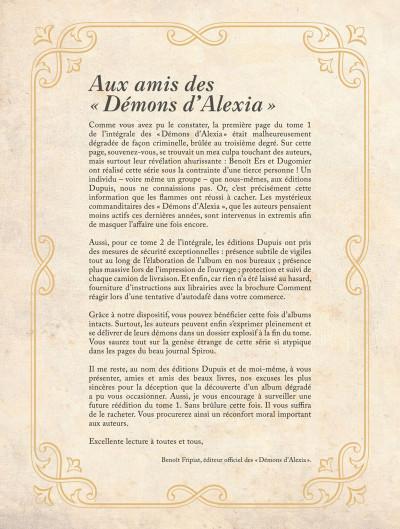 Page 2 Les démons d'Alexia - intégrale tome 2