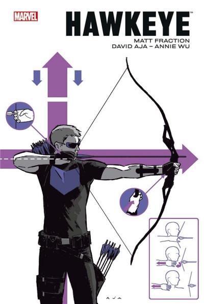 Couverture Hawkeye par Fraction et Aja