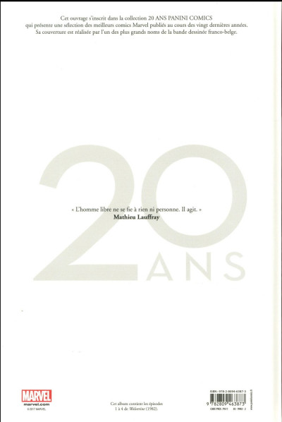 Dos Wolverine - édition 20 ans